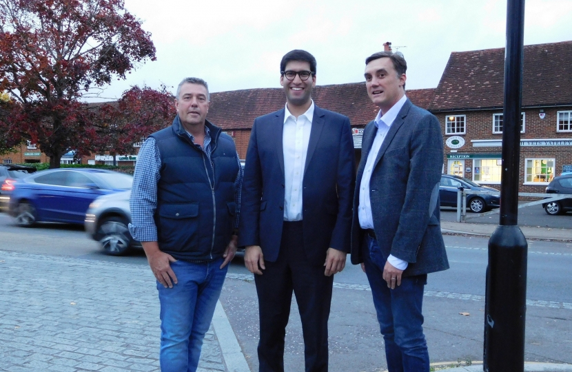 Ranil Jayawardena, MP with Yateley Town Councillors Chris Barnes and Shawn Dickens