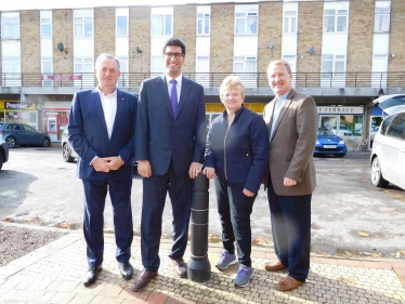 Ranil Jayawardena, MP with Hook Cllrs Mike Morris and Brian Burchfield, and Chairman of Hook Parish Council, Cllr Jane Worlock